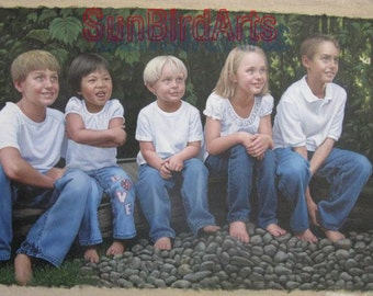 Custom child portrait painting, original baby oil portrait, kids oil portrait, children oil portrait, photos to oil painting, Five Person