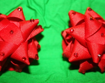 Red Fabric Ribbon Bow Pasties with red crystal rhinestones