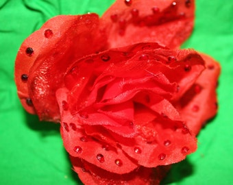 Red Rose with crystal rhinestones hair clip burlesque pinup VLV