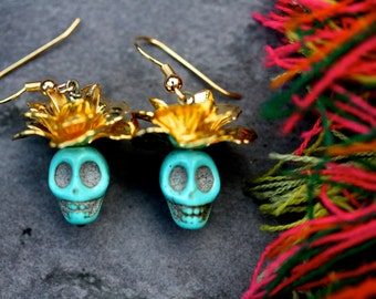 Day of the Dead -the emperor. Frida kahlo, rose, howlite, skull, palomita jewellery jewelry, exotic,hippie, boho,halloween, autumn,golden,58