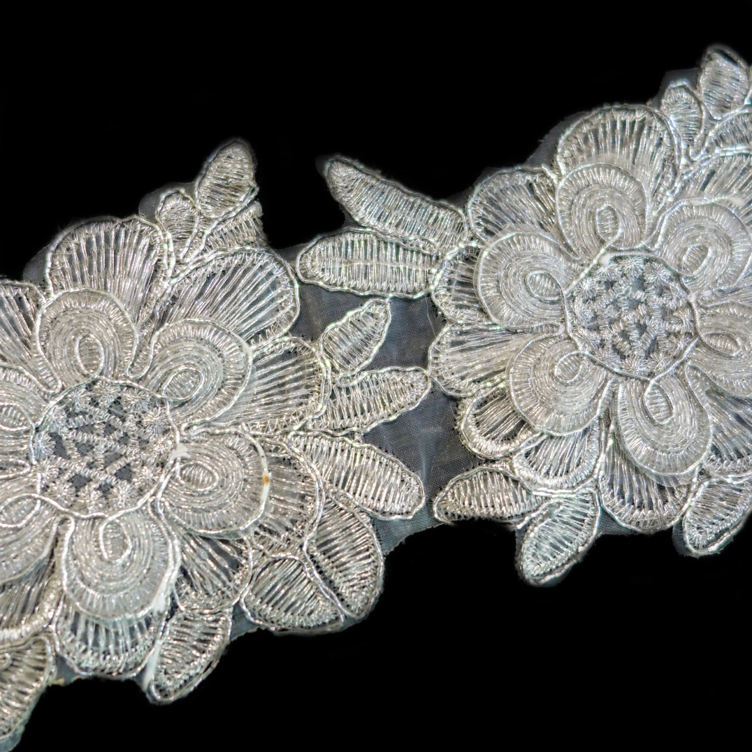 Silver embroidered large flower trim