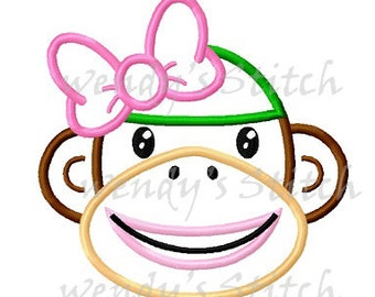 Girl sock monkey applique machine embroidery design