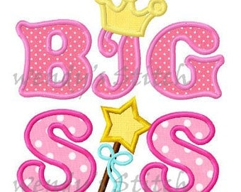 Big sis applique machine embroidery design instant download