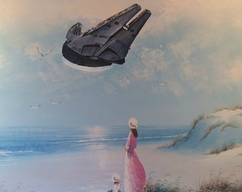 Star Wars Millennium Falcon Parody Painting, 'Flyin' Solo' - Limited Edition Print or Poster, Funny Star Wars Print Parody, Star Wars Gift