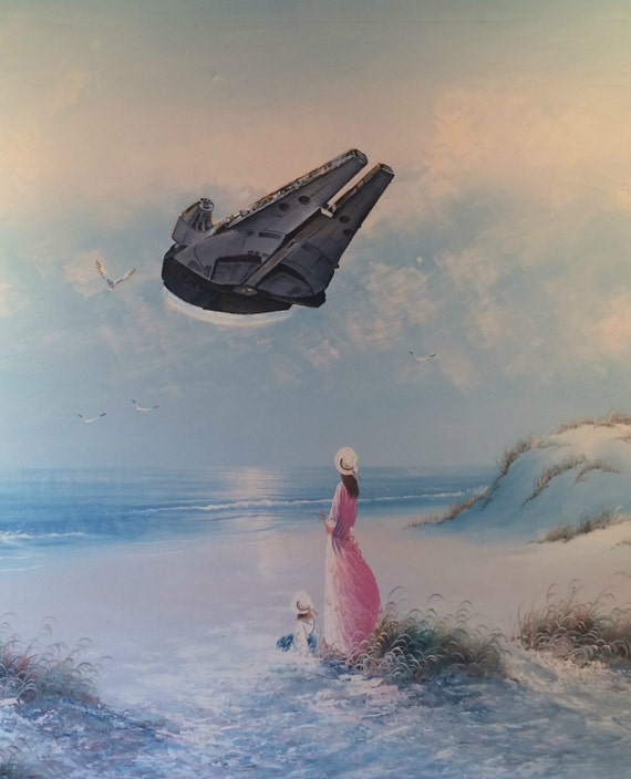 Star Wars Millennium Falcon Parody Painting, 'Flyin' Solo' - Repurposed Thrift Art - Limited Edition Print or Poster