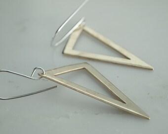 Minimalist Triangle Earring - Triangle Earrings - Triangle Dangles - Bronze Triangle Earrings - Sterling Silver Triangle Earrings