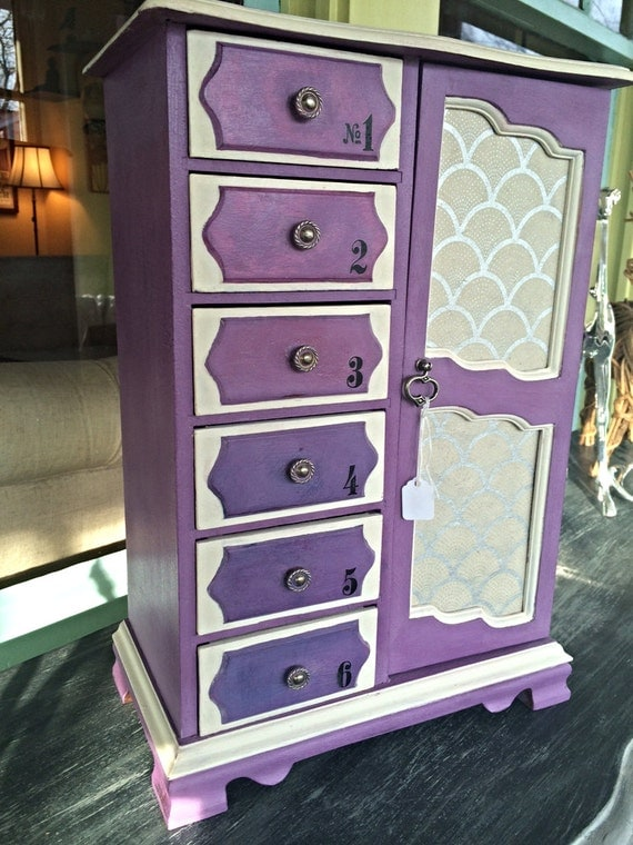 Amethyst Purple Ombre Drawer Large Jewelry Armoire By