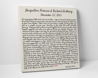 Maid of Honor, Gift to Bride and Groom, Letter on Canvas