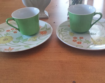 Vintage Floral Green Cup and Saucer Set of 2 Made in Japan