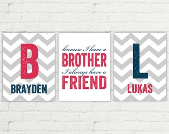 Brothers wall decor, boys room decor, brothers sign, boy nursery decor, big brother little brother, twins brothers art, brother decor, boys