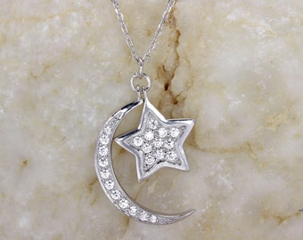 Crescent Moon &Star Necklace