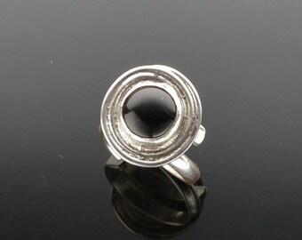 Beautiful Round Black Onyx Adjustable RIng, would make a wonderful gift.