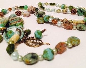 Springy Moss Lariat Necklace - Earthy, artisan, mixed media