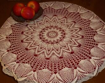 crochet doily, 31,5 inches, round doily, lace doily, white doily, crochet tablecloth