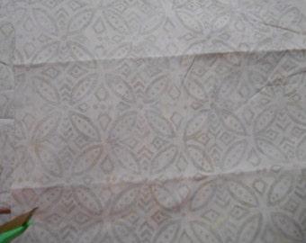Destash Fat Quarters..Cream Embossed on White Cotton Fabric Fat Squares 18x22 inch pieces.
