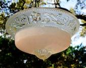 Pale pink glass bird feeder; hanging bird bath;  Art Deco glass; Holiday, Christmas, Housewarming gift; garden wedding decoration