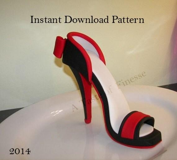 PDF-Instant Download Fondant hohe Ferse Muster Vorlage, High Heel Cake ...