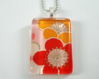 Japanese Chiyogami Paper Pendant - Orange, Red & Pink Plum Blossoms - Rectangular Glass Tile Pendant with Chain - Flower Necklace