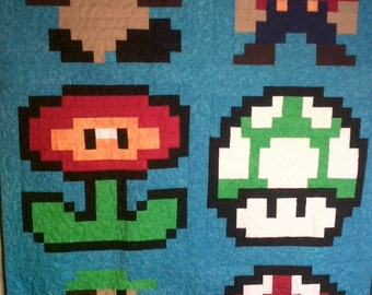 Twin Size Mario Quilt