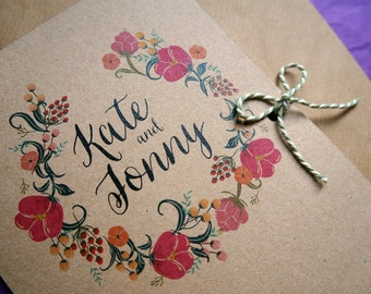 Wild Flowers wedding invitation and matching stationery