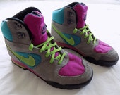 Vintage Neon NIKE Boots, grey suede with hot pink/teal canvas/lime green, Women's Size 7.5