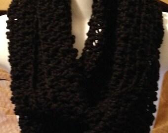 Crocheted scarf, Black crochet infinity scarf, womens scarves