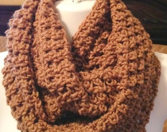 Crocheted scarf, Light Brown crochet infinity scarf