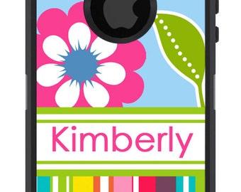 Personalized OTTERBOX COMMUTER Rainbow Floral Stripes iPhone X, 8, 8 Plus, 7, 7 Plus, 6/6s, 6 Plus/6s Plus, 5/5s/SE Galaxy S8 Plus S7 Note 8