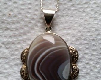 Vintage Sterling Silver Genuine Banded Agate Necklace
