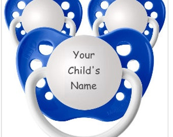 Silicone Soothie Set - Baby Boy Must Have - Personalised Baby Boy Pacis - Baby Boy Name Reveal - Set of 3 Pacifiers - Baby Prince Binky