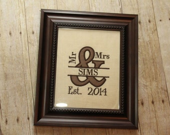 Framed personalized Mr. And Mrs. Applique