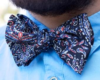 Handmade Self tie Bow Tie Black Blue Floral Pattern Print Formal Casual