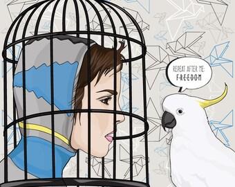 "Original digital illustration print: ""Freebird"", 10"" x 10"""