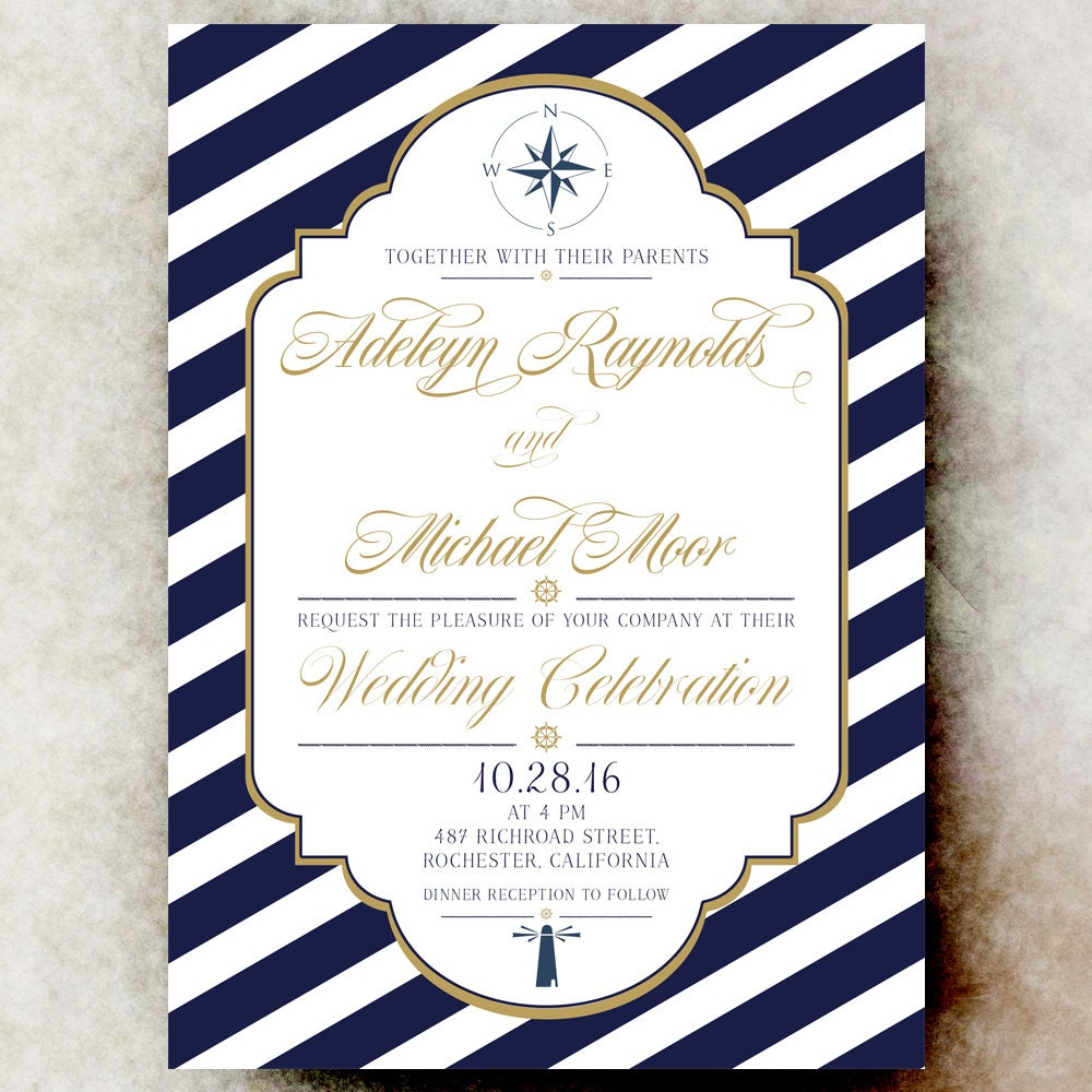 Sailboat Wedding Invitations: Nautical Wedding Invitation Navy Blue By DivineGiveDigital