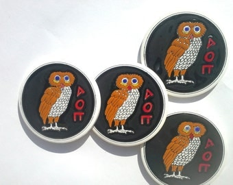 Owl Coaster, Greek Ceramic, Tile Coaster, Pottery Houseware, Ceramic Art, Black coaster, Drink Coaster