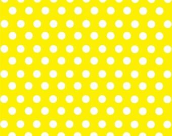 Yellow with white polka dot pattern craft  vinyl sheet - HTV or Adhesive Vinyl -  medium polka dots HTV1601