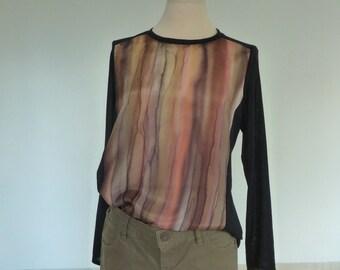 Silk blouse/silk top/blouse longsleeves/ombre blouse/medium/ombre silk/painting tunic/silk tee/Art womens shirt/hand made/loose fitting/art