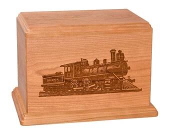 Cherry Train Wood Cremation Urn
