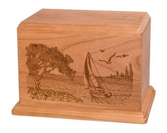 Cherry Soft Breezes Wood Cremation Urn