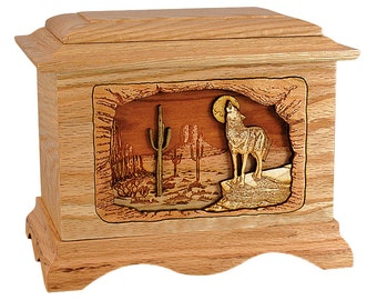 Oak Desert Coyote Ambassador Wood Cremation Urn