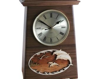 Walnut Dolphin Astoria Clock Wood Cremation Urn