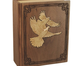 Walnut Book with Doves Wood Cremation Urn