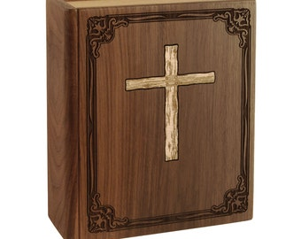 Walnut Book with Cross Wood Cremation Urn