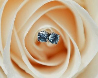 Sky Blue Topaz Stud Earrings, Blue Topaz Earrings, Oxidized Silver Stud Earrings, 3mm Studs, Blue Topaz Studs, December Birthstone Earrings