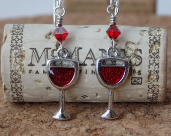 Wine Glass Earrings - Wine Earrings - Girls Night Out Earrings - Swarovski Earrings - Wine Glass Charm Earrings - Silver and Red