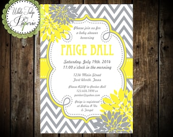 yellow and grey baby shower invitations  etsy, Baby shower invitations