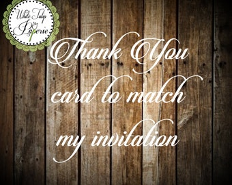 Thank you card to match invitation