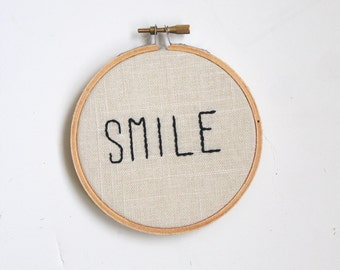 Smile embroidery hoop art, 4-inch hoop, wall hanging