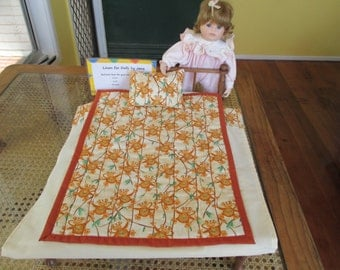 Doll's quilt set with monkeys - free postage inside Australia