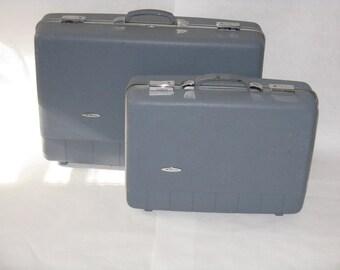 Pair vintage blue hard case suitcases Sears Forecast brand